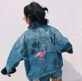 "[PO] ""Happy Times"" Oversized Flamingo Denim Jacket"