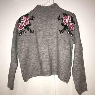 Grey Turtleneck Knit Sweater
