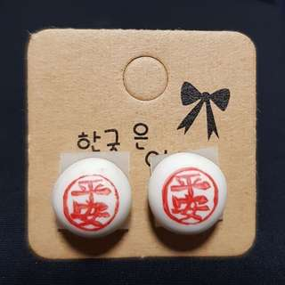 Clay miniature: ping an bao earrings