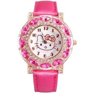 Hello Kitty鑲鑽石英手錶 適合兒童,少女配戴 適合收藏 適合送禮