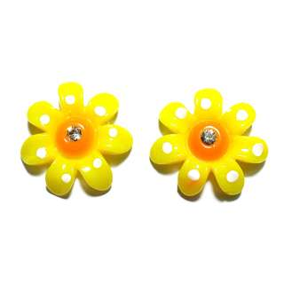 Handmade Korean Style Yellow Flower Resin Pain Relief Safety Earring Clip For Kids