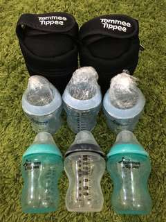 Tommee Tippee Bottles and Insulated Thermal Bag