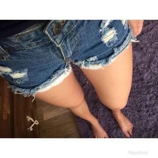 🚚 韓 刷破牛仔短褲