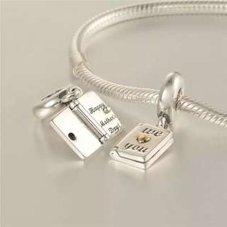 Code SS70 - We Love You Happy Mother's Day 100% 925 Sterling Silver Charm, Chain Is Not Included, Compatible With Pandora