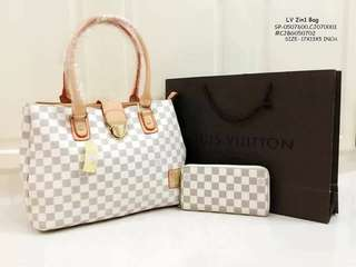 LV 2IN1 BAG✔TRIPLE COMPARTMENT BAG 🖋HAND BAG ✔SYNTHETIC LEATHER MATERIAL 🖋3 DESIGN'S AVAIL 🖋SIZE- 17X13X5 INCH. ✔ZIPPER CLOSURE
