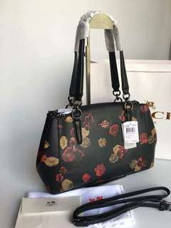 COACH F56469 SMALL CHRISTIE CARRYALL IN HALFTONE FLORAL COATED CANVAS