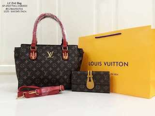 LV 2IN1 BAG ✔TRIPLE COMPARTMENT BAG 🖋HAND'SLING BAG / REPLICA WALLET ✔SYNTHETIC LEATHER MATERIAL 🖋3 DESIGN'S AVAIL 🖋SIZE- 16X13X5 INCH. ✔ZIPPER CLOSURE