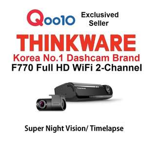 [Qoo10 Authorised Power Seller] THINKWARE-F770☆ Korea No.1 Full HD 2-Ch WiFi  1year Warranty Free Installation Car Dashcam Cam Camera Dvr Blackbox 0% Interest 6~12mth Credit Card Instalment Plan