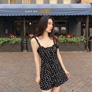 Summer Black Polka Dot Dress
