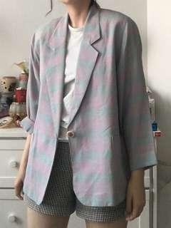 Oversized vintage pastel check blazer