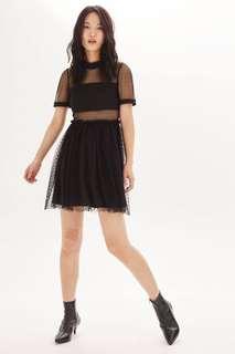 Top Shop Black Spot Mesh Tulle Prom Dress