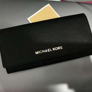 Michael kors 黑色斜紋長銀包 wallet 👛
