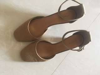 Charles & keith brown pony hair ankle strap heels