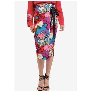 LOST INK Floral Tie Detail Pencil Skirt