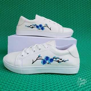 Sepatu wanita putih Kets kasual sneakers bordir bunga/vans/adidas/all star  murah