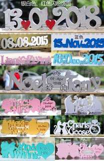 Customized standing name blocks for wedding reception