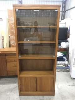 詩肯柚木玻璃書櫃 展示櫃