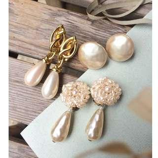 Skin&Moss復古vintage巴洛克珍珠仿製珍珠墜耳夾珍珠耳環萊茵石復古飾品