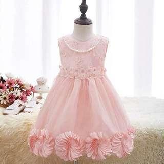 Lace Applique Stereoscopic Flower Ornament Asymmetrical Hem Princess Dress