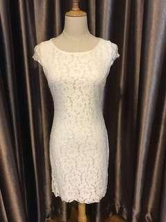 Zalora White Lace Bareback Dress