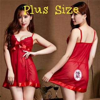 Ready Stock Plus Size 2XL, 3XL Sexy Lingerie Nightwear - Red
