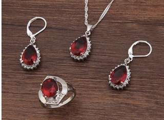 Sale 925 Silver Sterling Set(Earring,Necklace+pendant,ring)