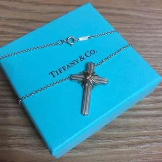 二手 蒂芬妮 Tiffany 十字架 純銀 K金 大尺寸 項鏈 項鍊 蒂芙妮 保證真品 正品 九成新 男用 女用 絕版品