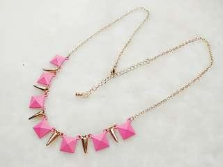 Golden Spike Pink Zinc Alloy Square Necklace