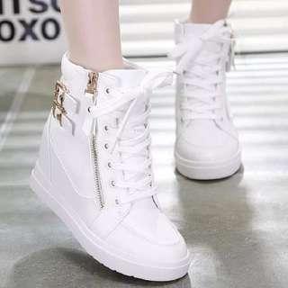 sepatu wanita Boot Wedges ZR30 Putih tren