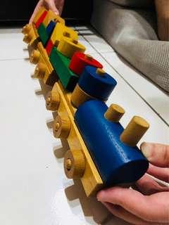 兒童  益智  玩具 積木  小火車