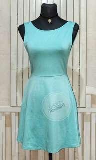 H&M deep V back skater dress in mint green
