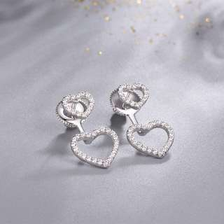 Hearty Earrings with Synthetic Diamond (Platinum-plated Sterling Silver) Model No.: SE0053 $139.90