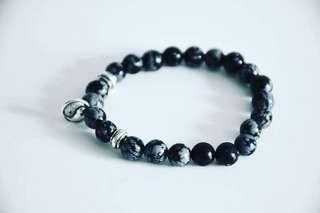 Snowflake Obsidian with yin yang charm