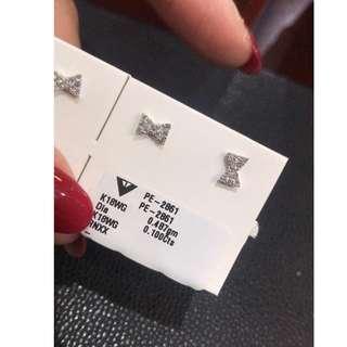18k鑽石蝴蝶結耳釘