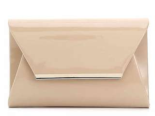 Accessorize London | Metal Bar Patent Clutch Nude