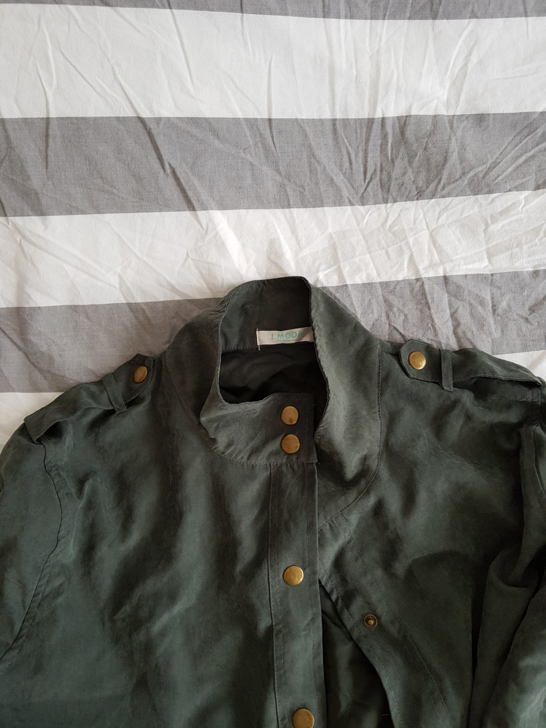 4d3718b5afe Army Green Bomber Jacket plus size with gold buttons
