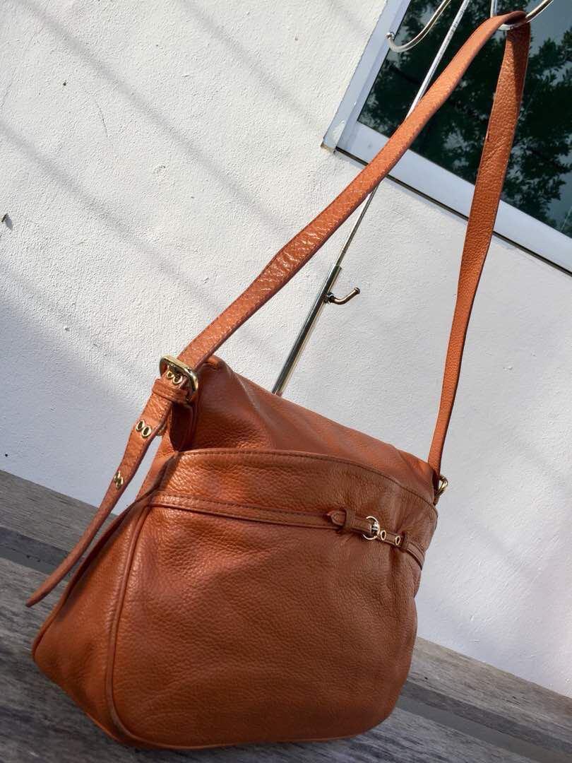 b92ee29e3043 Authentic Marc Jacobs Petal To The Metal Natasha Brown Leather Sling Bag
