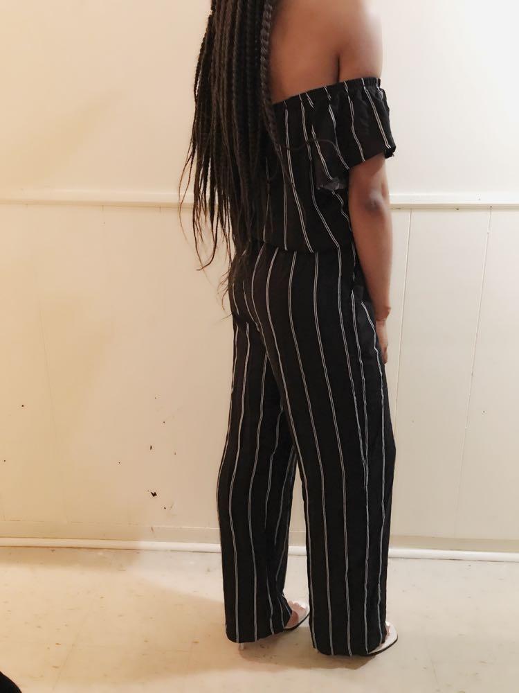Black and White stripe Jumpsuit
