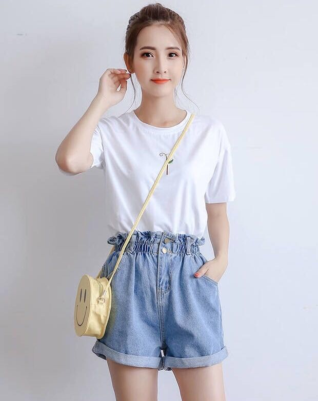 BRAND NEW* White T-Shirt + Jeans shorts, Women's Fashion, Clothes, Pants,  Jeans & Shorts on Carousell
