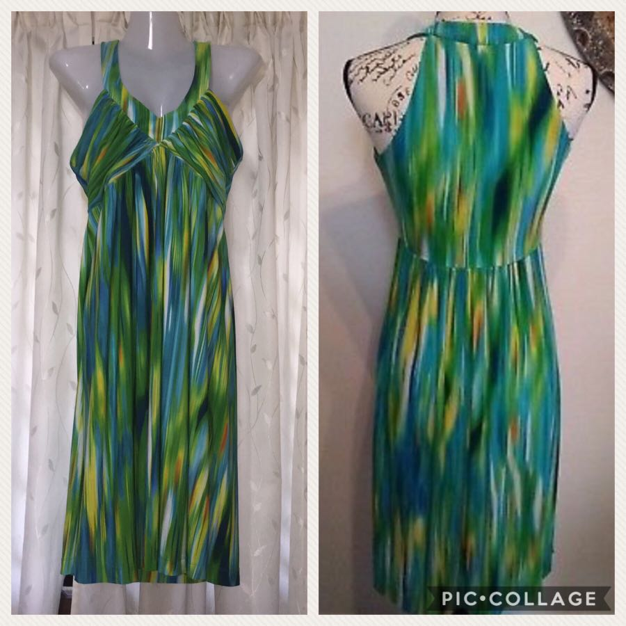 e4aa9ebc889b Calvin Klein Women s Summer Sun Dress Jersey Multi-color Fit and ...