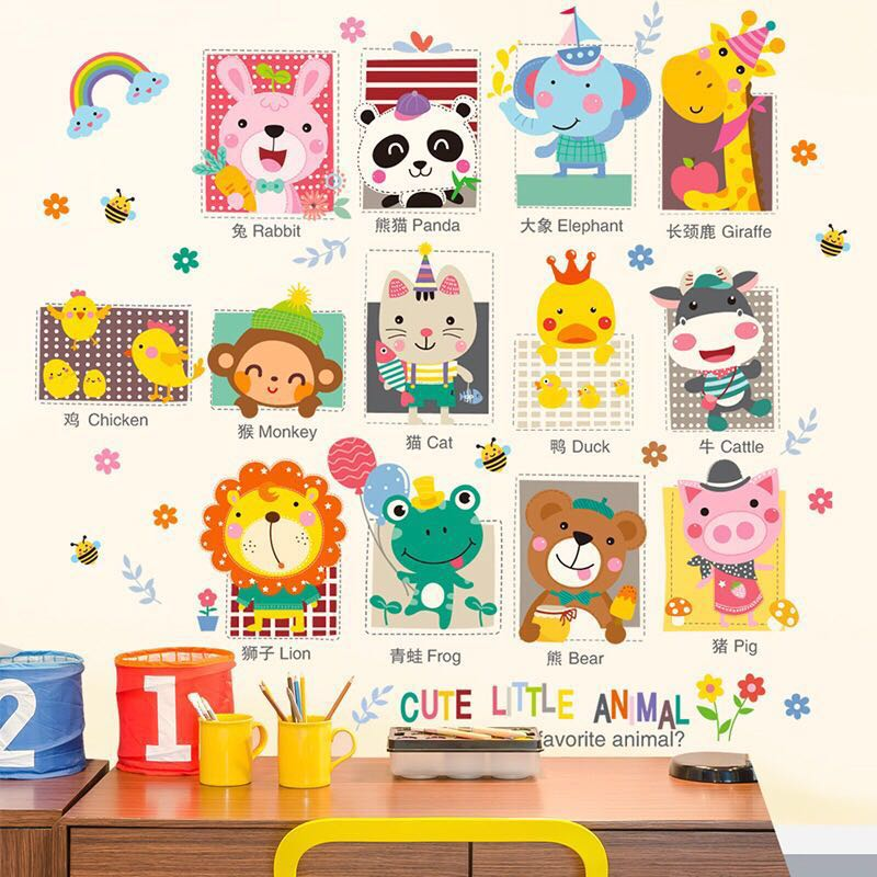 Cartoon Cute Wall Stickers Nursery Classroom Wall Decoration Children S Room Layout Baby Early Childhood Animal Stickers Furniture Home Decor On Carousell