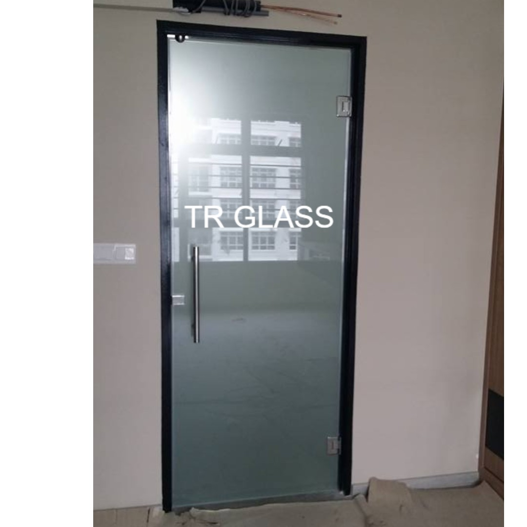Clear Frosted Tempered Glass Swing Door Toilet Entrance Furniture