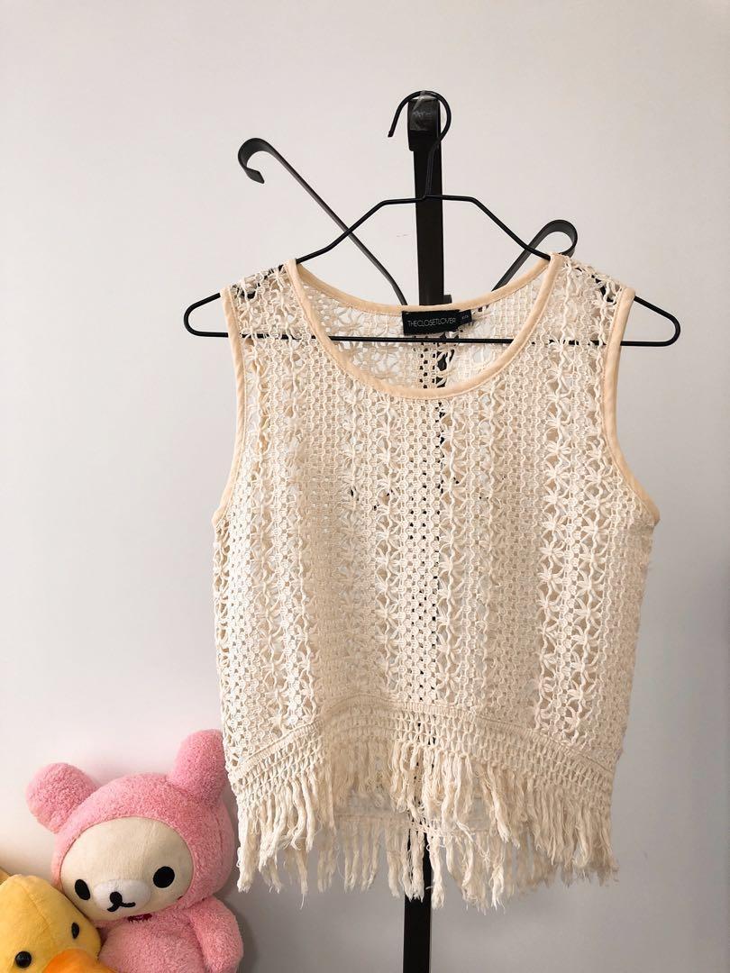 Crochet Knitted Sleeveless Fringe Crop Top Beigeoff White