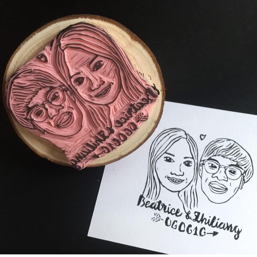 Custom Couples Stamp - Portrait Rubber stamp, custom face stamp ...