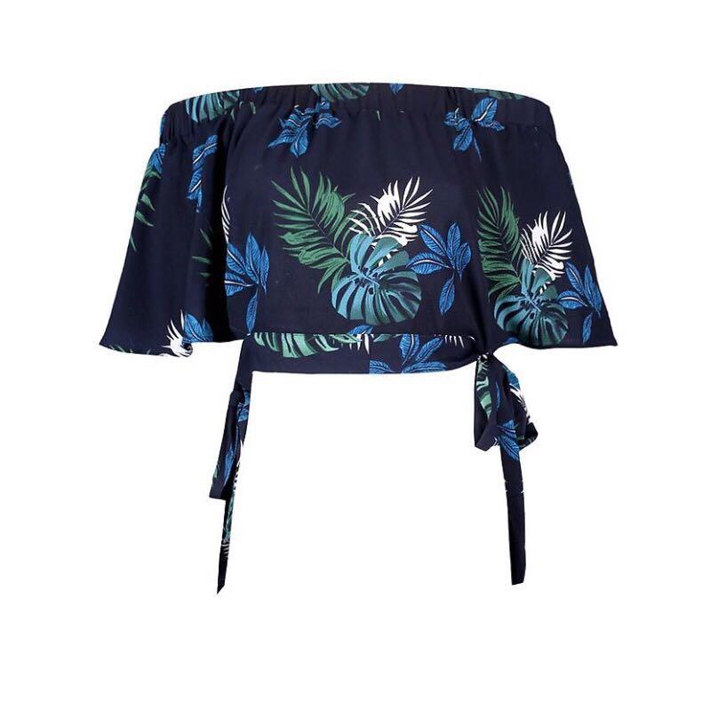 Floral side tie off the shoulder top