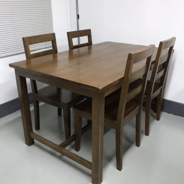 Indonesian Teak Dining Table With 4 Chairs Furniture Tables