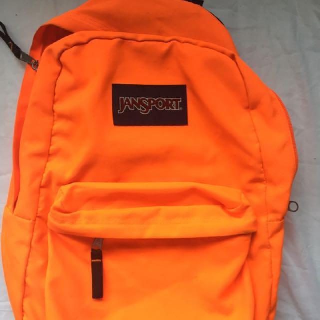 Jansport Backpack (Neon orange), Men's Fashion, Bags
