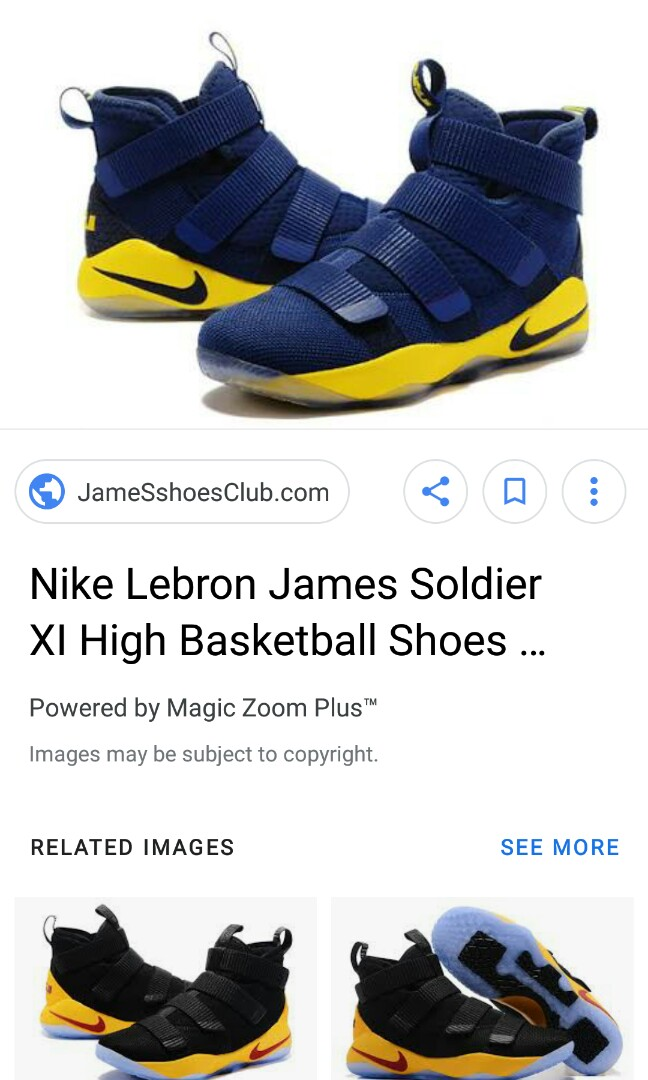 286d19bcc17 Nike Lebron James Soldier XI High Basketball Shoes in Dark Blue Yellow Men  Lebron Soldier 11