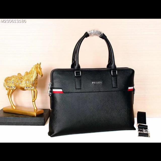 6121a0374bcb ... where to buy prada mens leather laptop bag black mens fashion bags  wallets 4b078 46570