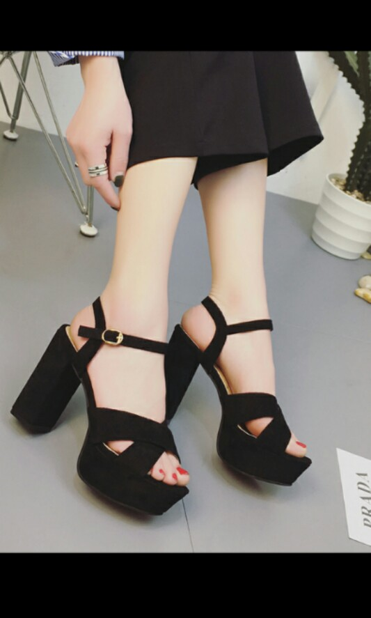 47281bf67b1 Preorder korean Chunky suede criss cross Heels  Waiting time 15 days ...
